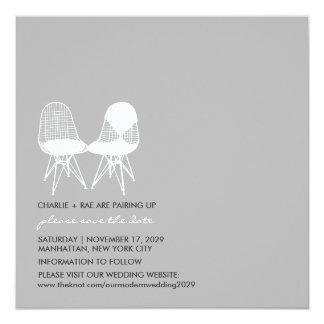 Retro Mod Perfect Chair Pair Eames Save The Date 13 Cm X 13 Cm Square Invitation Card