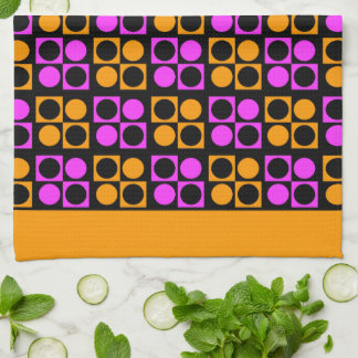 Retro Mod Pink Orange Patten Kitchen Towel
