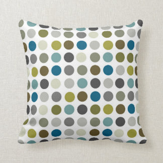 Retro Mod Polka Dot Pattern Throw Pillow