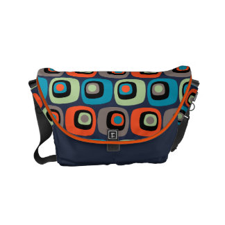 Retro mod square and circles pattern on dark blue courier bag