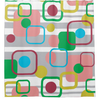 Retro Mod Squares and circles pattern Shower Curtain