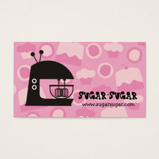 Retro mod stand mixer baking business cards pink