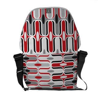 Retro Mod Zig Zag Pattern Red Black Art Bag Messenger Bag