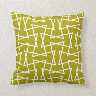 Retro Mod Zigzag Pattern Chartreuse Cushion