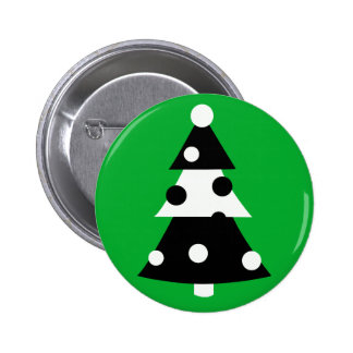 Retro Modern Black and White Christmas Tree Buttons