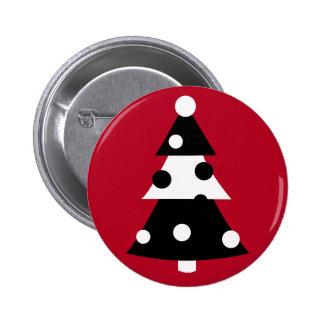 Retro Modern Black and White Christmas Tree Button