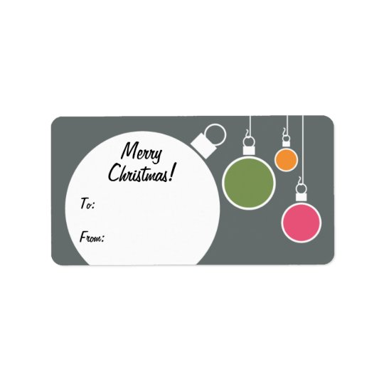 Retro Modern Christmas Gift Tag - Grey Address Label