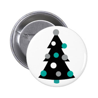 Retro Modern Christmas Tree Pinback Buttons