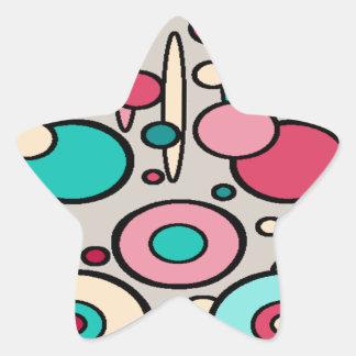 Retro Modern Circles Star Sticker