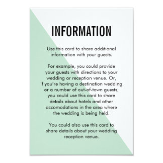 Retro Modern Color Block Information Card (Mint) 9 Cm X 13 Cm Invitation Card