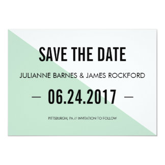 Retro Modern Color Block Save the Date Card (Mint) 13 Cm X 18 Cm Invitation Card