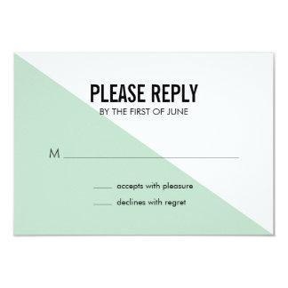 Retro Modern Color Block Wedding Reply Card (Mint) 9 Cm X 13 Cm Invitation Card