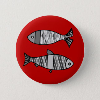 Retro Modern Fish, Deep Red and Gray / Grey 6 Cm Round Badge