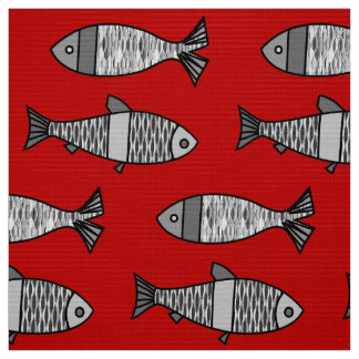 Retro Modern Fish, Deep Red and Gray / Grey Fabric