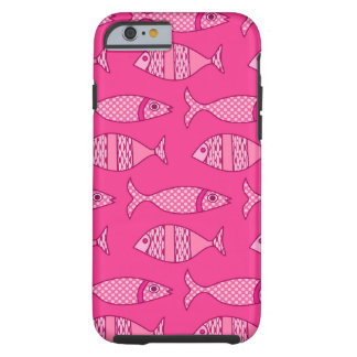 Retro Modern Fish, Fuchsia, Light Pink, Deep Pink Tough iPhone 6 Case