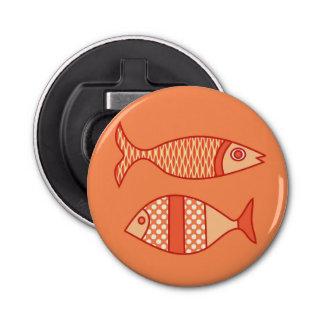 Retro Modern Fish, Light Coral Orange & Tangerine Bottle Opener