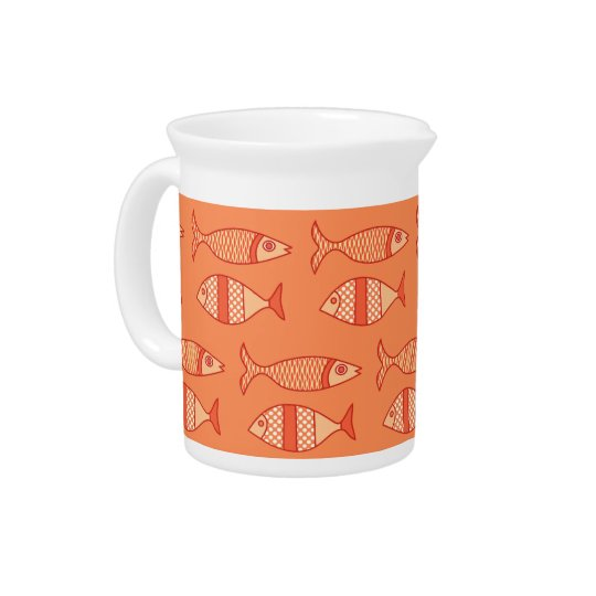 Retro Modern Fish, Light Coral Orange & Tangerine Pitcher