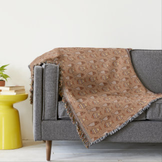 Retro Modern Fish, Tan, Beige and Light Brown Throw Blanket