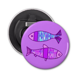 Retro Modern Fish, Violet, and Amethyst Purple Bottle Opener