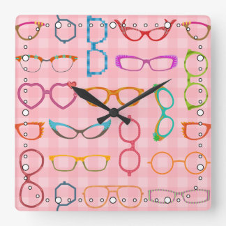 Retro Modern Hipster Eyeglasses Pink Gingham Square Wall Clock