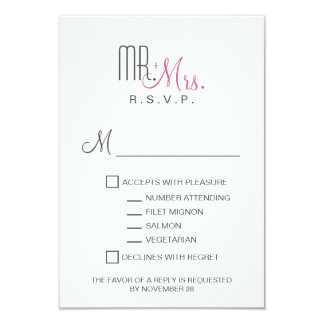 Retro Modern RSVP 9 Cm X 13 Cm Invitation Card