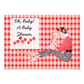 Retro Mom and Baby Shower Card