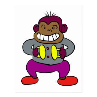 Retro Monkey with Cymbals Toy Postcard