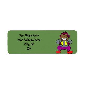 Retro Monkey with Cymbals Toy Return Address Label