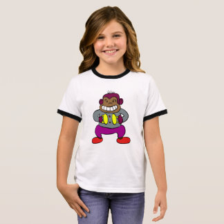 Retro Monkey with Cymbals Toy Ringer T-Shirt