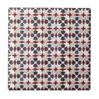Retro Moroccan Pattern (Red, Blue, Beige) Tile