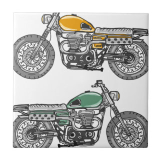 Retro Motorcycle Vector Sketch Ceramic Tile