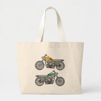 Retro Motorcycle Vector Sketch Large Tote Bag
