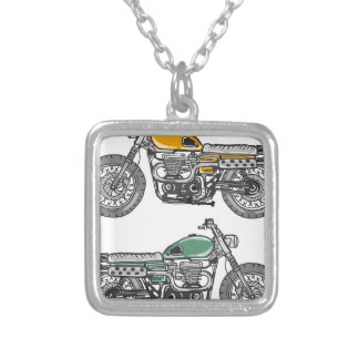 Retro Motorcycle Vector Sketch Silver Plated Necklace