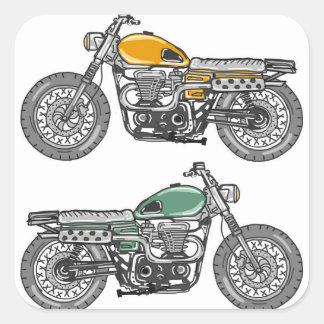 Retro Motorcycle Vector Sketch Square Sticker