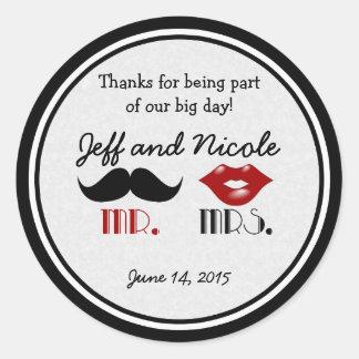 Retro Moustache Custom Wedding Round Sticker