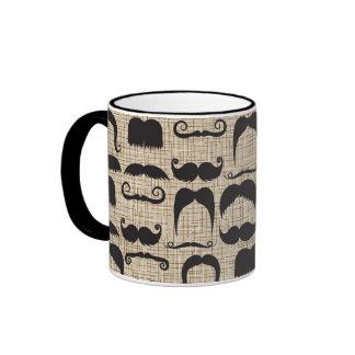 Retro Moustache Moustache Stache Pattern Ringer Mug