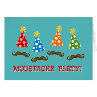 Retro Moustache Party Card