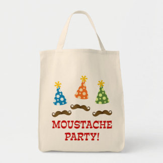 Retro Moustache Party Grocery Tote Bag