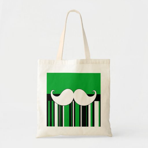 Retro Moustache Stache Mustache with Green Stripes Bag