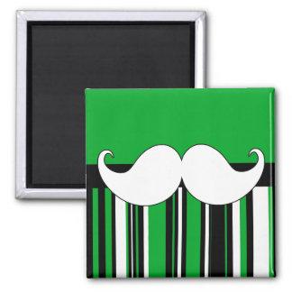 Retro Moustache Stache Mustache with Green Stripes Refrigerator Magnet
