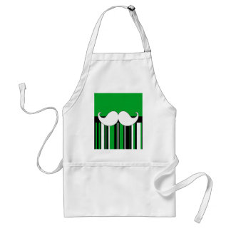 Retro Moustache Stache Mustache with Green Stripes Standard Apron
