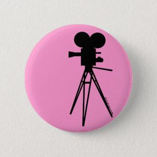 Retro Movie Camera Silhouette 6 Cm Round Badge