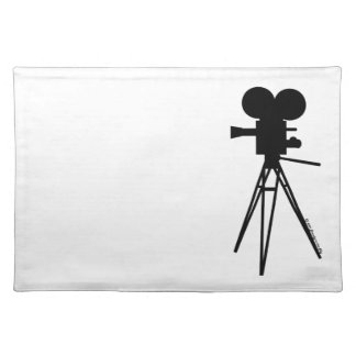 Retro Movie Camera Silhouette Custom Placemats