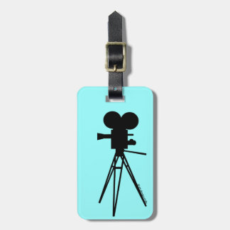 Retro Movie Camera Silhouette Luggage Tag