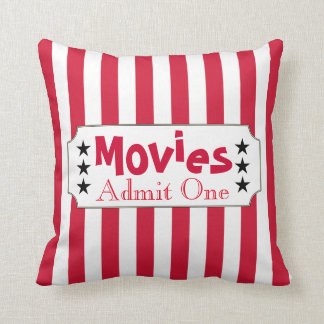 Retro Movie Home Theater Ticket Throw Pillow Decor