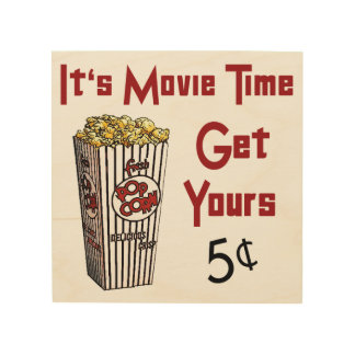 Retro Movie Popcorn Wood Sign Wood Canvas