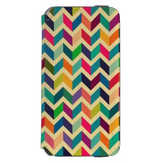 Retro multi color chevron zig zag  vintage trendy incipio watson™ iPhone 6 wallet case