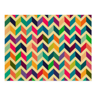 Retro multi color chevron zig zag  vintage trendy post card