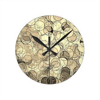 Retro Multi Colored Circles Pattern Round Wall Clock