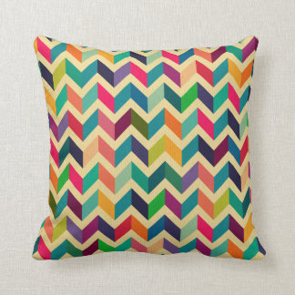Retro multi colour chevron zig zag  vintage trendy cushion